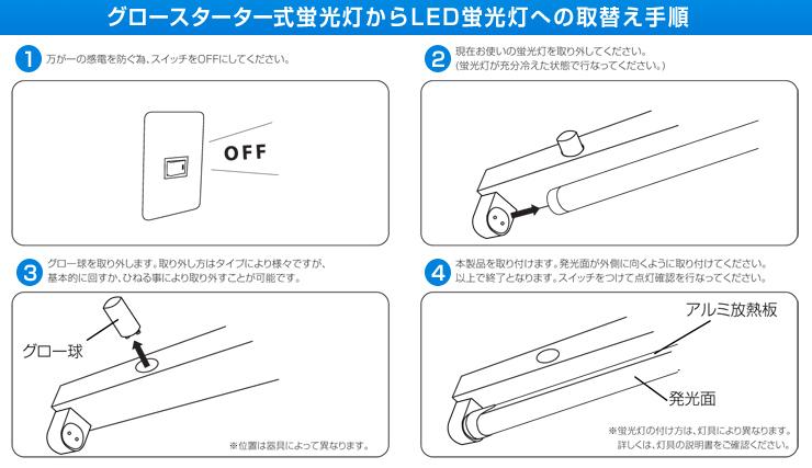 グロー式 直管蛍光灯を直菅LEDへ 交換